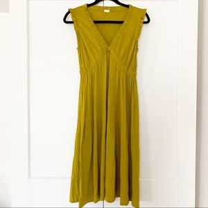 J. Crew • Olive Green Drapey V Neck Dress Sz. M